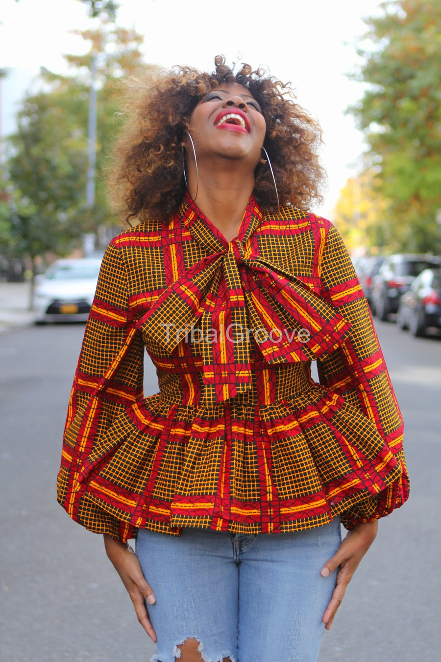 Image of Peggy - African Ankara Wax Peplum Pussy Bow Top Shirt