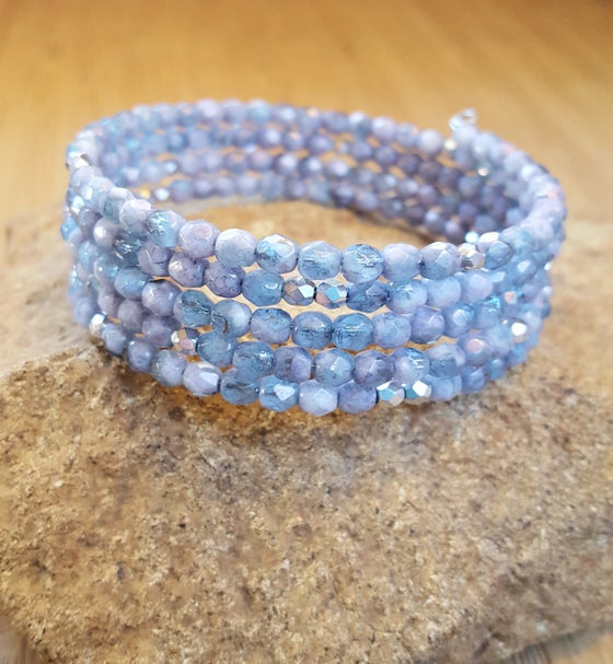 Image of Light Blue Czech Stacking Wrap Bracelet