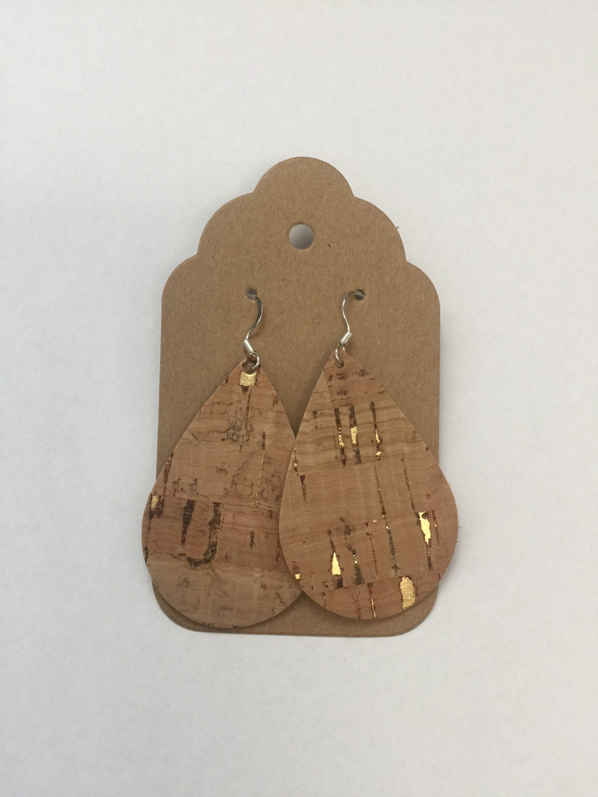 Image of Cork Fabric Earrings - Cork with gold accents