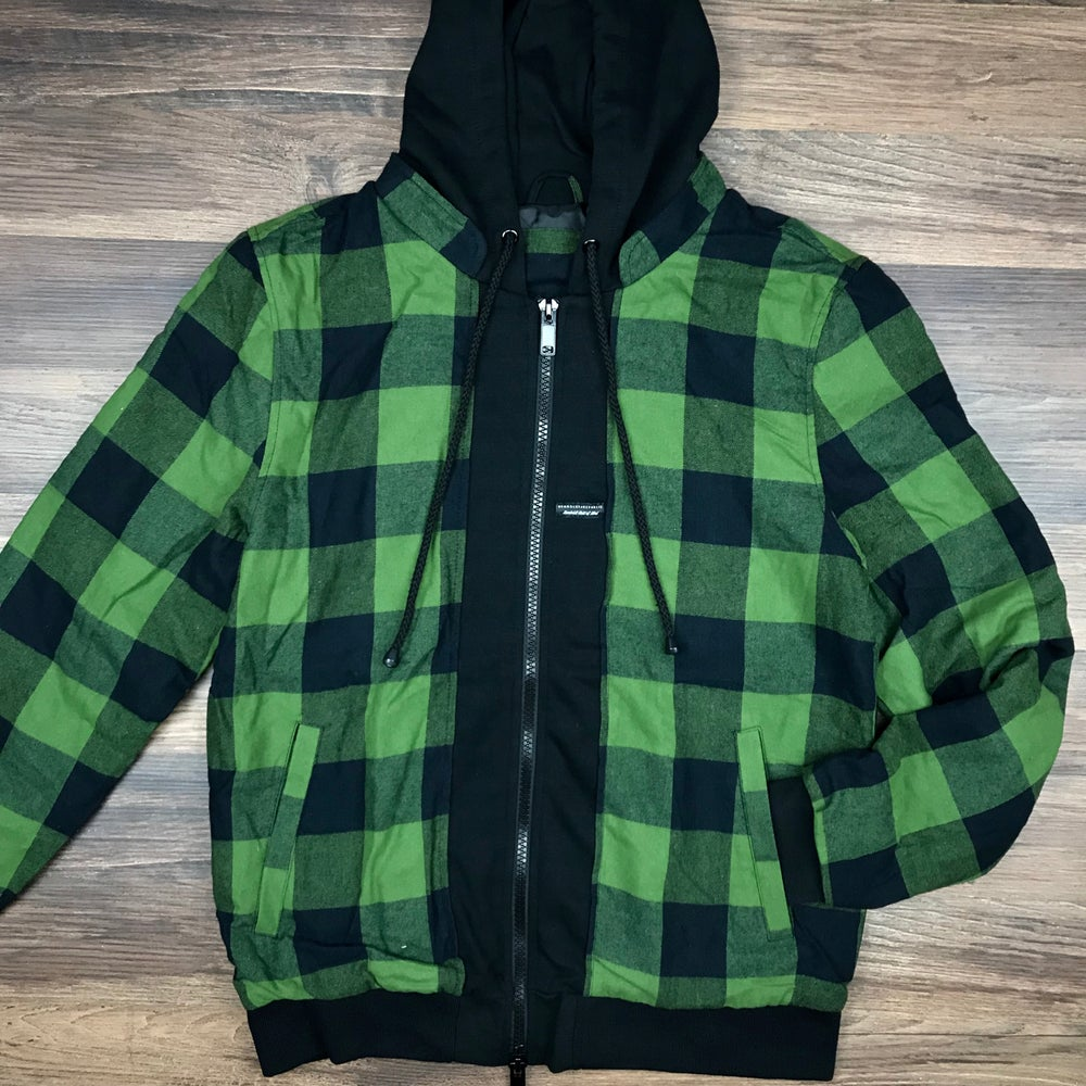 "Image of ""Common Crooks 2.0"" Men's Layered Flannel Zip Hoodie"