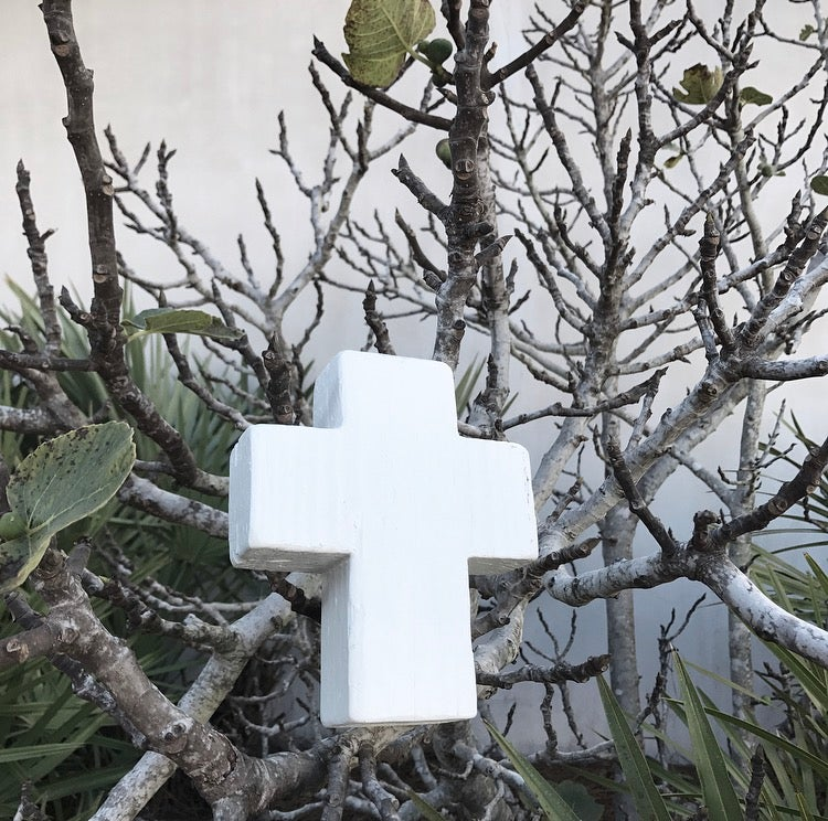 Image of #100419 RECLAIMED WOOD CROSS - white