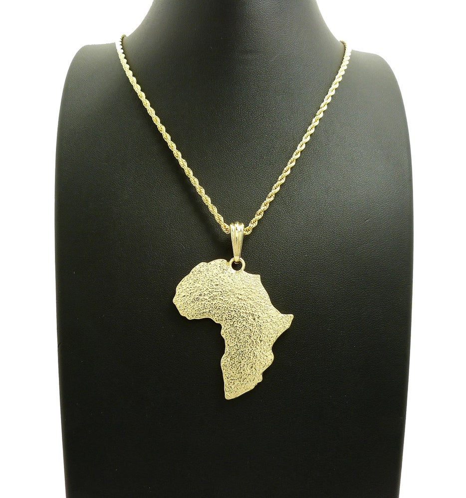 Image of AFRICA MEDALLION w/ ROPE CHAIN