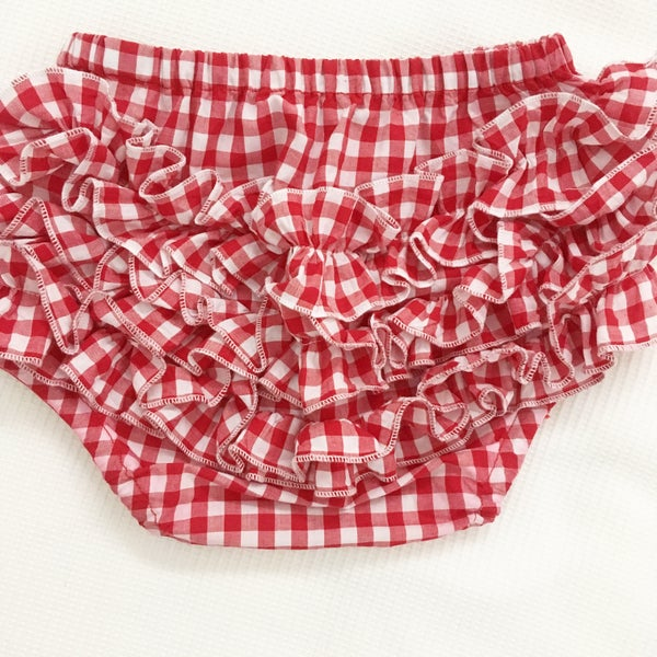 Image of Red gingham nappy panties