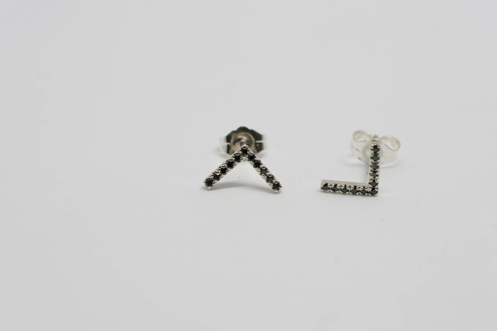 Image of Black Diamond Stud Earrings