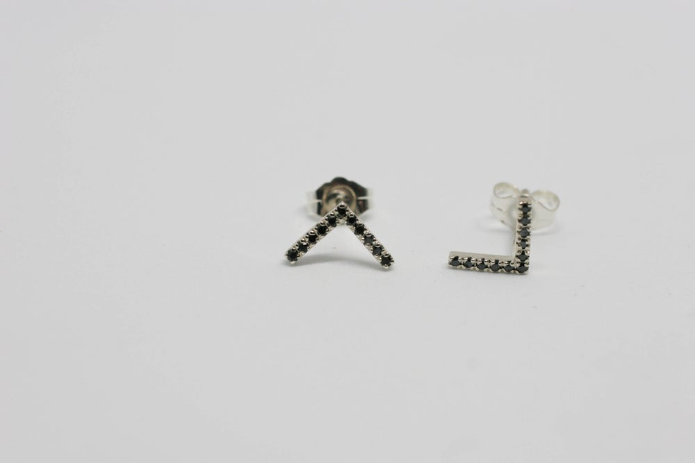 Image of Black Diamond Stud Earrings