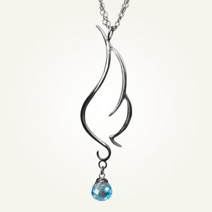 Image of Phoenix Wing Necklace with Swiss Blue Topaz, Sterling Silver