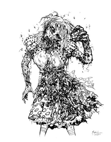 Image of ZOMBIE PROM QUEEN original inked art