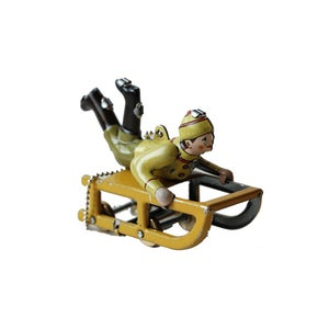 Image of Miniature Tin Toy Ornament - Sled Driver