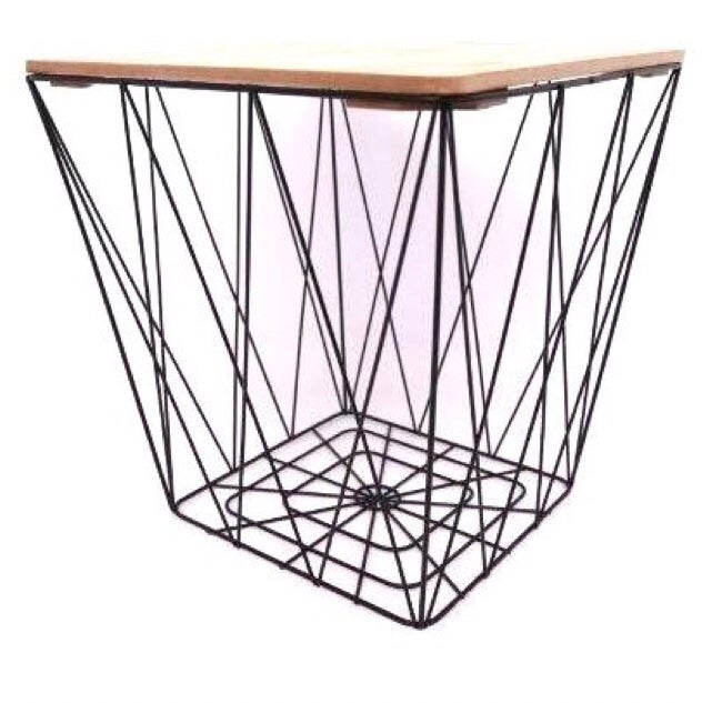 Image of Square Geometric Basket Table with Wooden Lid