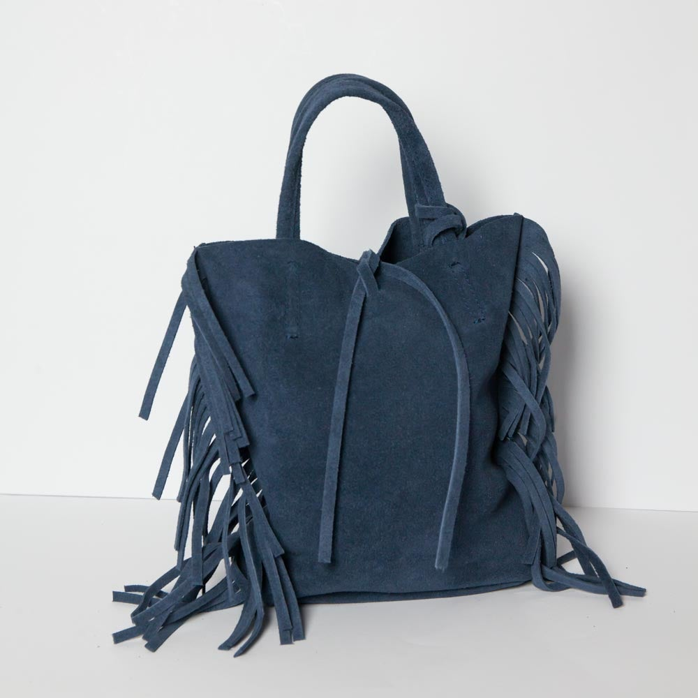 Image of Bag in camoscio con frange | Blu