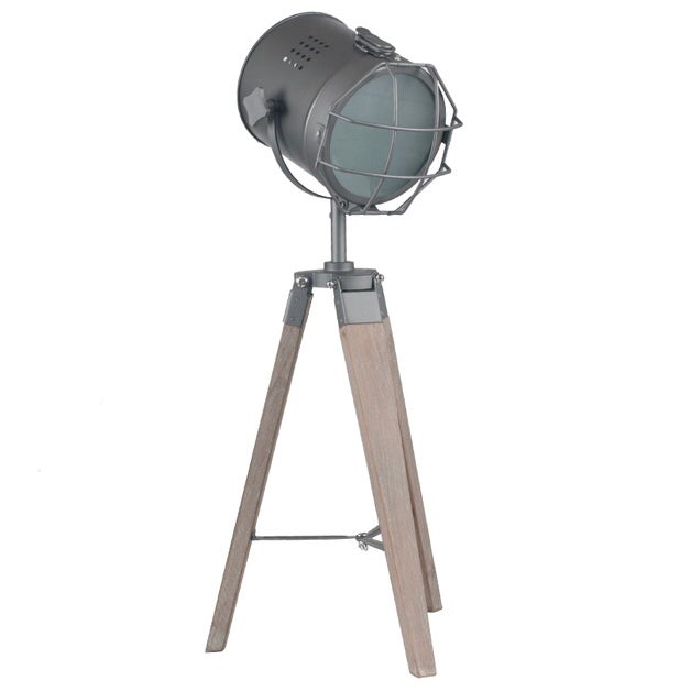 Image of Grey Metal & Antique Wood Tripod Spotlight Table Lamp