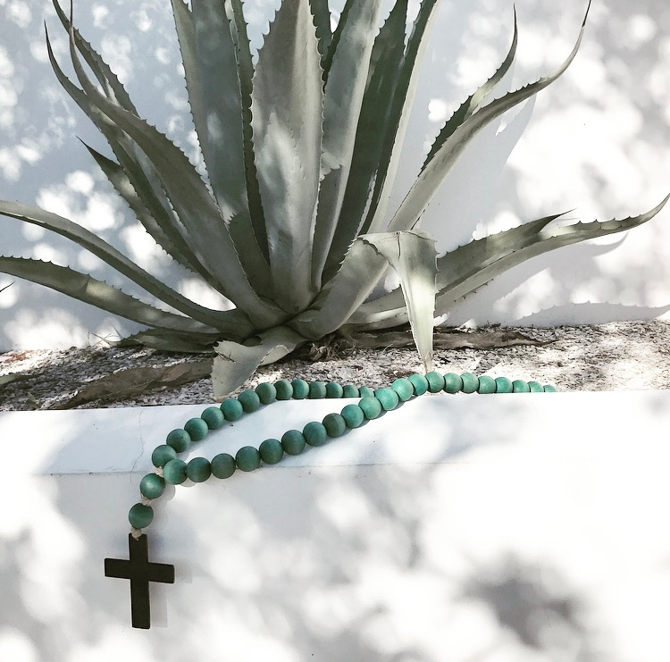 Image of ORIGINAL LOVE BEADS - AQUA CROSS-1