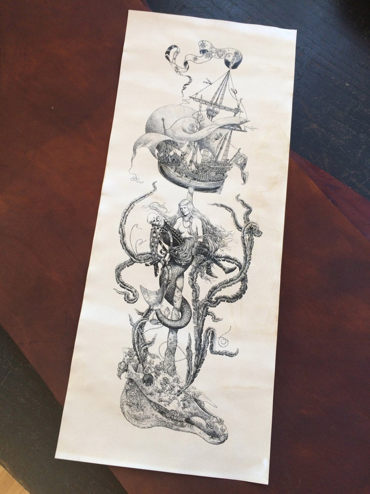 Image of Lost at Sea -tea stained print-