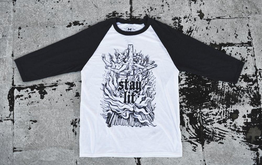 "Image of ""Stay Lit"" 3/4 Baseball T-Shirt (Charcoal Grey & White) / Charcoal Grey Print"