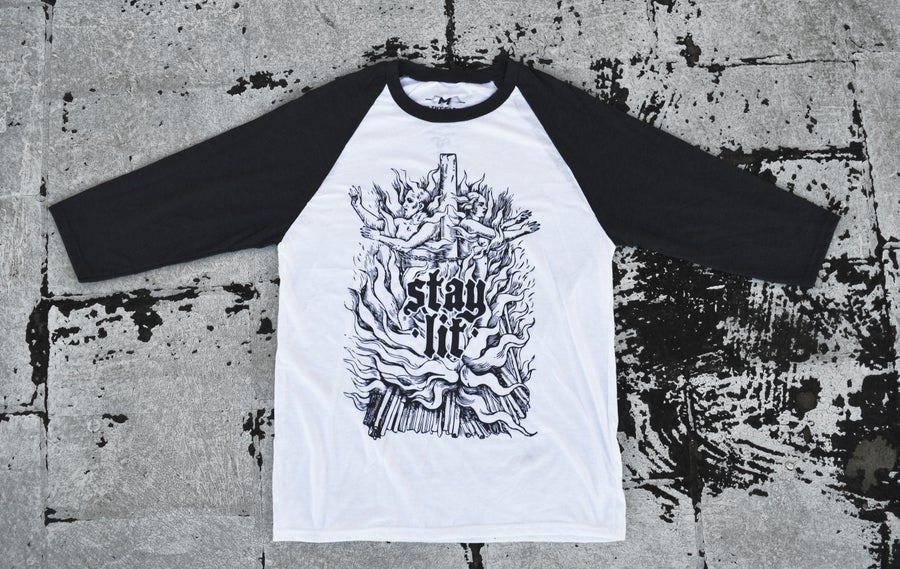 "Image of ""Stay Lit"" 3/4 Baseball T-Shirt (Charcoal Grey & White)"