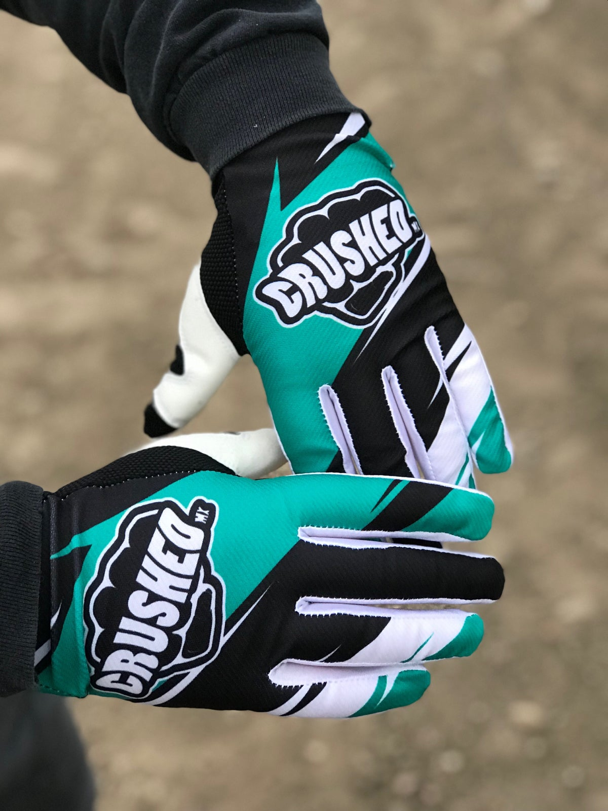 teal black and white crushed mx motocross gloves