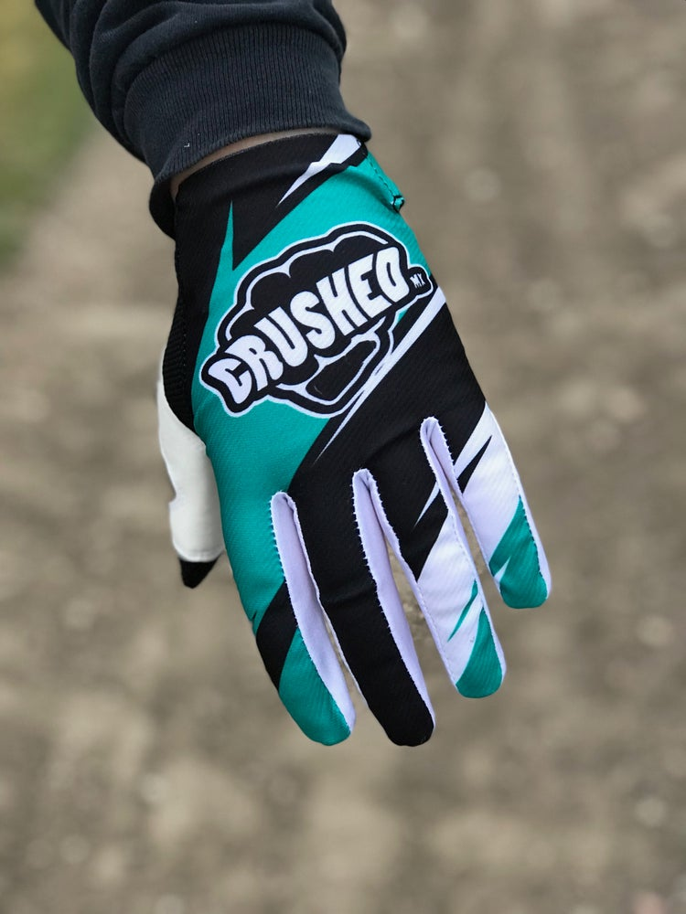 Image of Teal Black and White Crushed MX Motocross Gloves