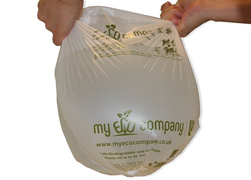Image of 7 / 8 Litre Biodegradable & Compostable Food Waste Bin Bags With Tie Top - 100 Caddy Liners