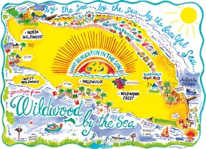 Image of NEW! Retro Wildwood Map Watercolor Painting