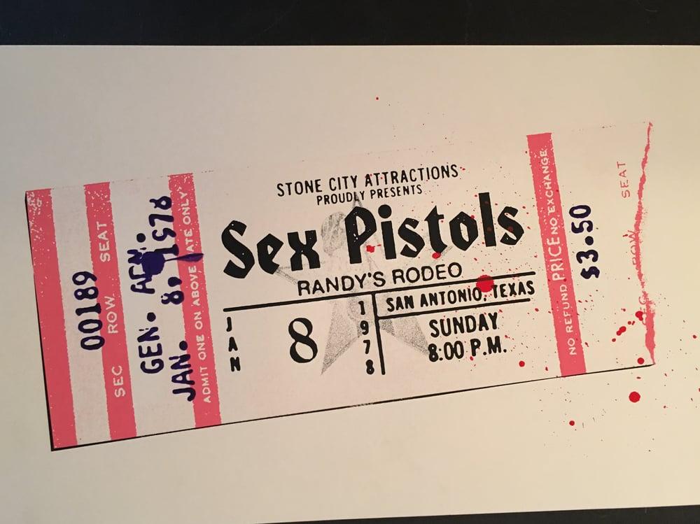 Image of Sex Pistols - Randy's Rodeo ticket stub print