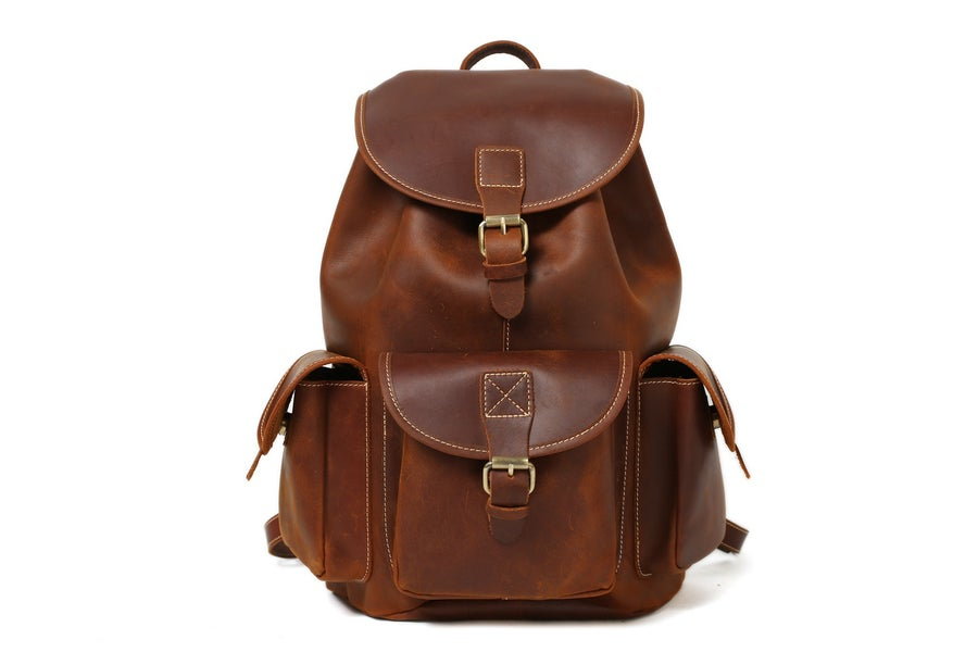 Image of Medium Size Handmade Leather Backpack College Backpack School Backpack 8891M