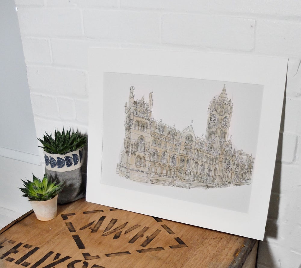 Image of Manchester Town Hall- A3 Individually hand painted, limited edition print.