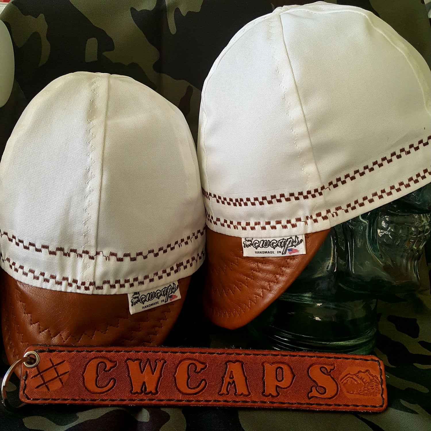 Image of White cap w/Caramel Faux Leather Bill