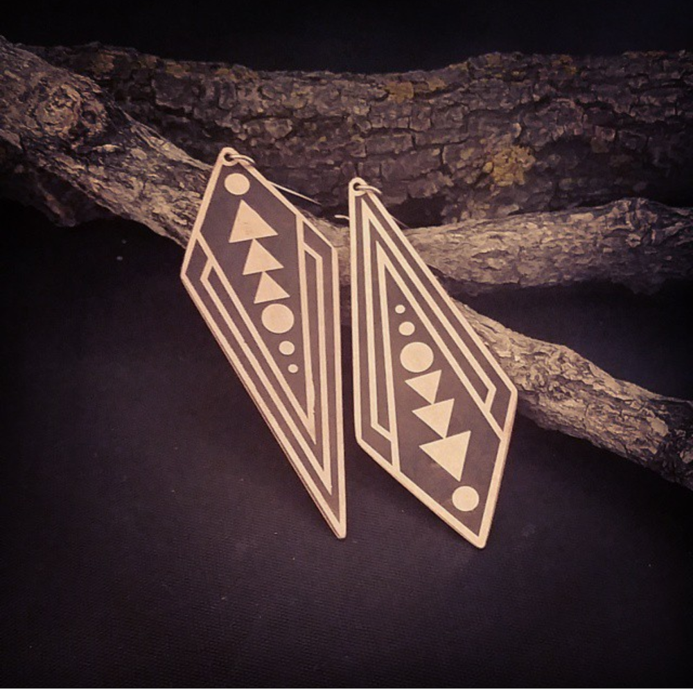 Image of Maiden Mother Crone Inverted Triangle Earrings