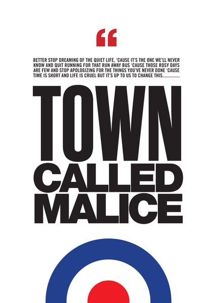 Image of The Jam - 'Town Called Malice' lyric poster for Paul Weller & The Jam fans