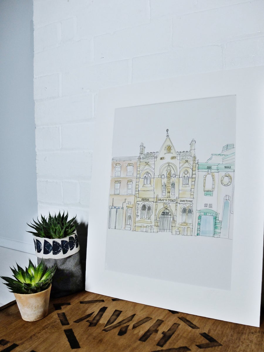 Image of The Deaf Institute, Manchester- A3 Hand painted, limited edition print.