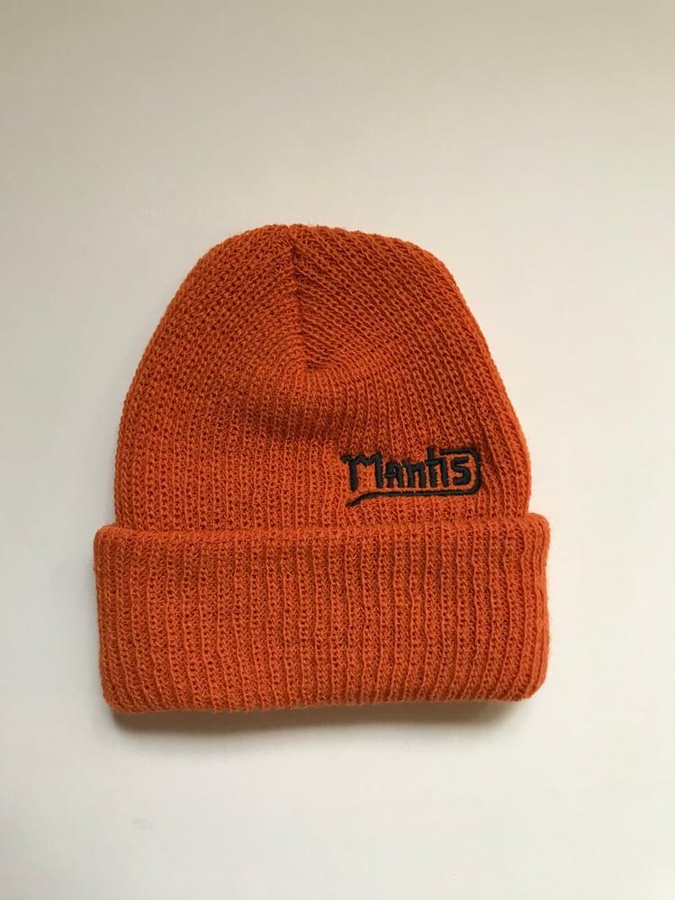 "Image of Mantis ""Salary Cap"" snowboard beanie garage logo orange"