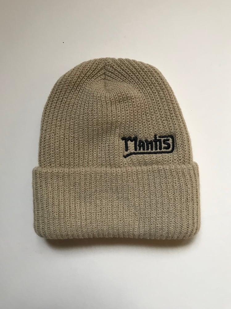 "Image of Mantis ""Salary Cap"" snowboard beanie garage logo cream"