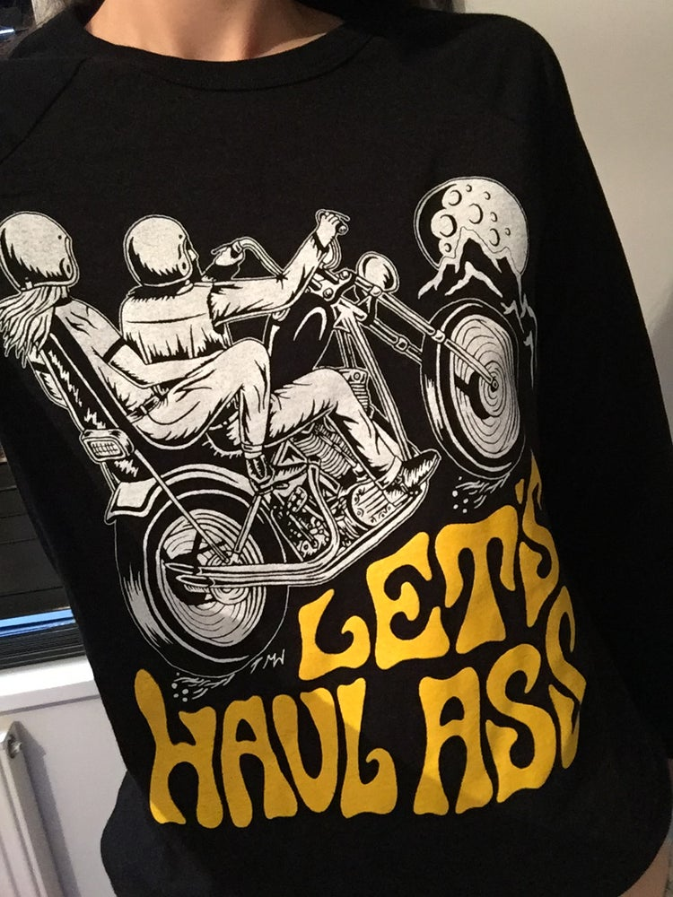Image of 'Lets Haul Ass' Babe Cave X Matt Sabbath Collab in Black Heather