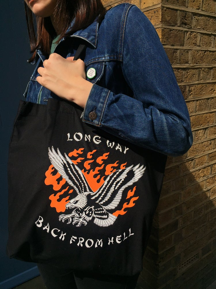 Image of 'Long Way Back From Hell' - Babe Cave x Jaca Tattoo - Canvas Tote Bag