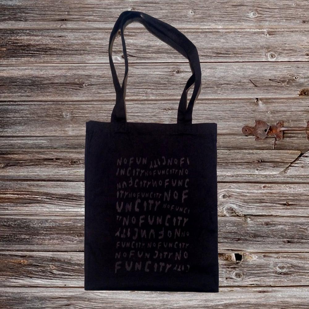 Image of NO FUN CITY Tote Bag (BLACK/BLACK-DYED COTTON)