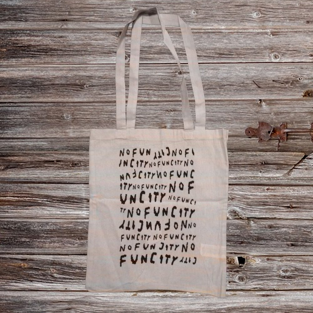 Image of NO FUN CITY Tote Bag (BLACK/NATURAL COTTON)