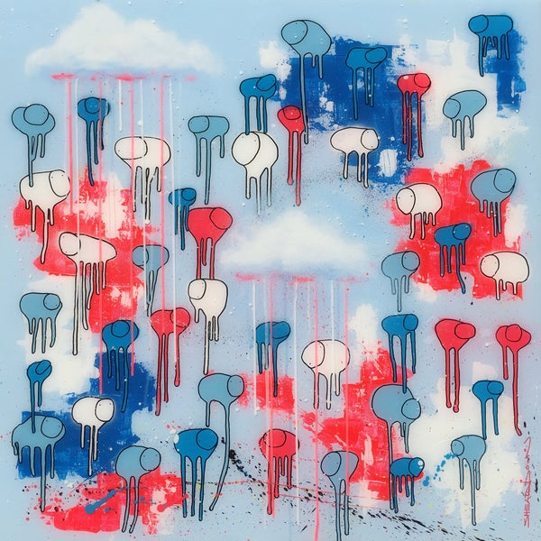"Image of Raining Cows, ""BARBER POLE SNOW-FLAKE"" 36""X36"""