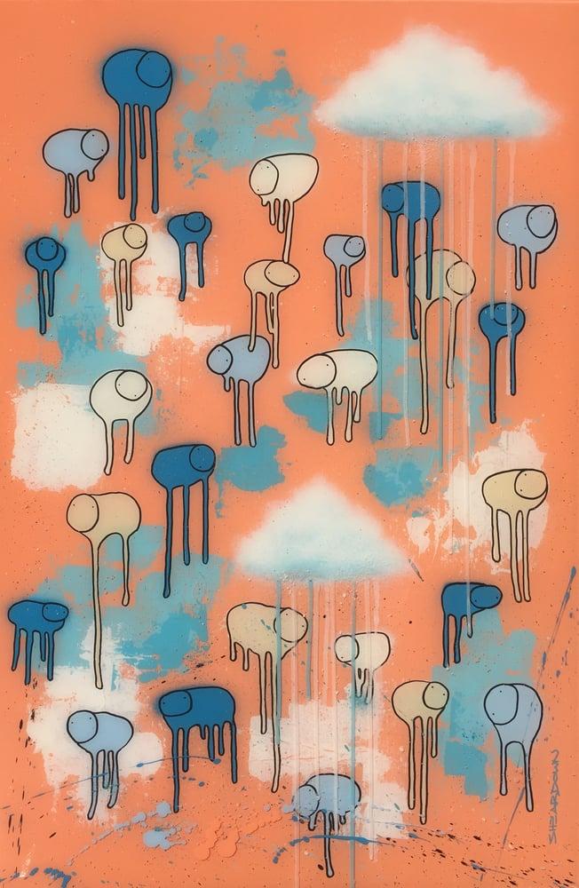 "Image of Raining Cows, ""SALMON SUNSET"" 24""X36"""