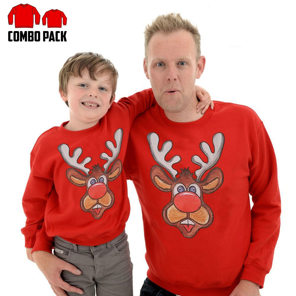 Matching Reindeer Sweatshirts Combo Pack Adult And