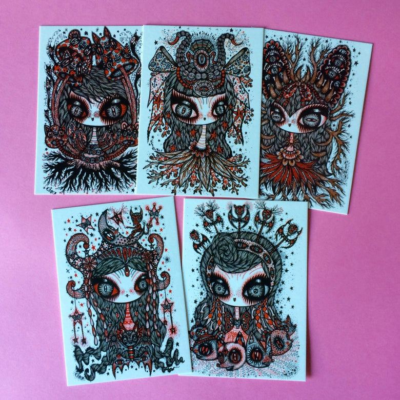 """Image of Ciou new postcard """" the mystic girls """", serie of 5 postcards"""
