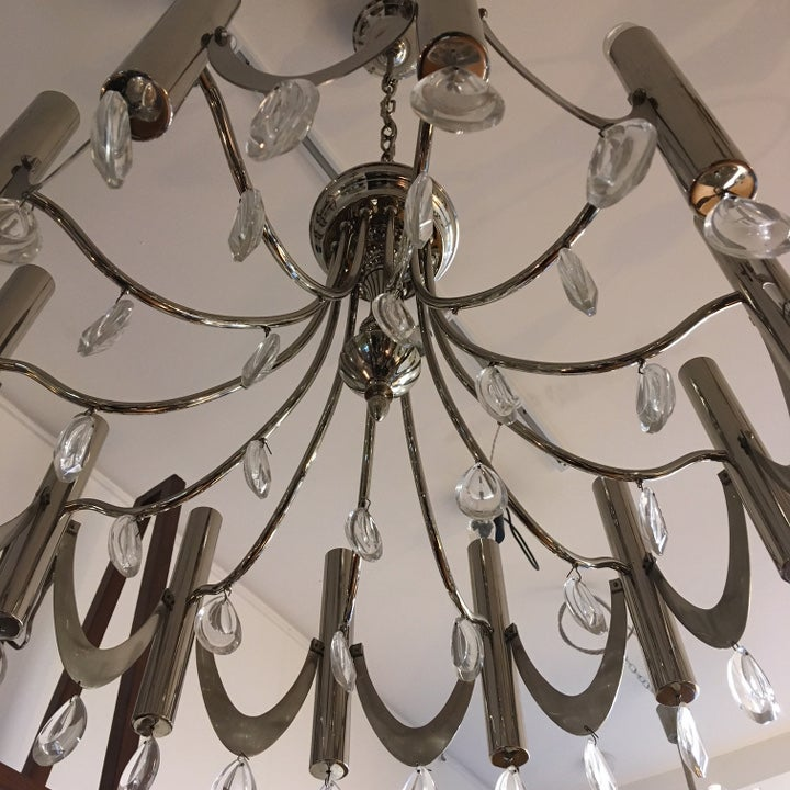 Image of Chrome Sciolari Chandelier with Crystal Glass Droplets