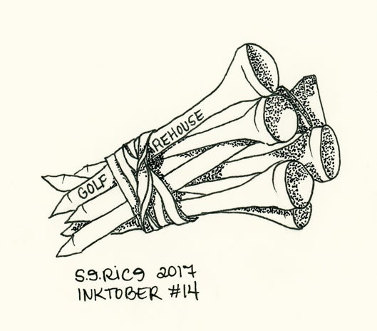Image of Inktober #14 - Golf Tees