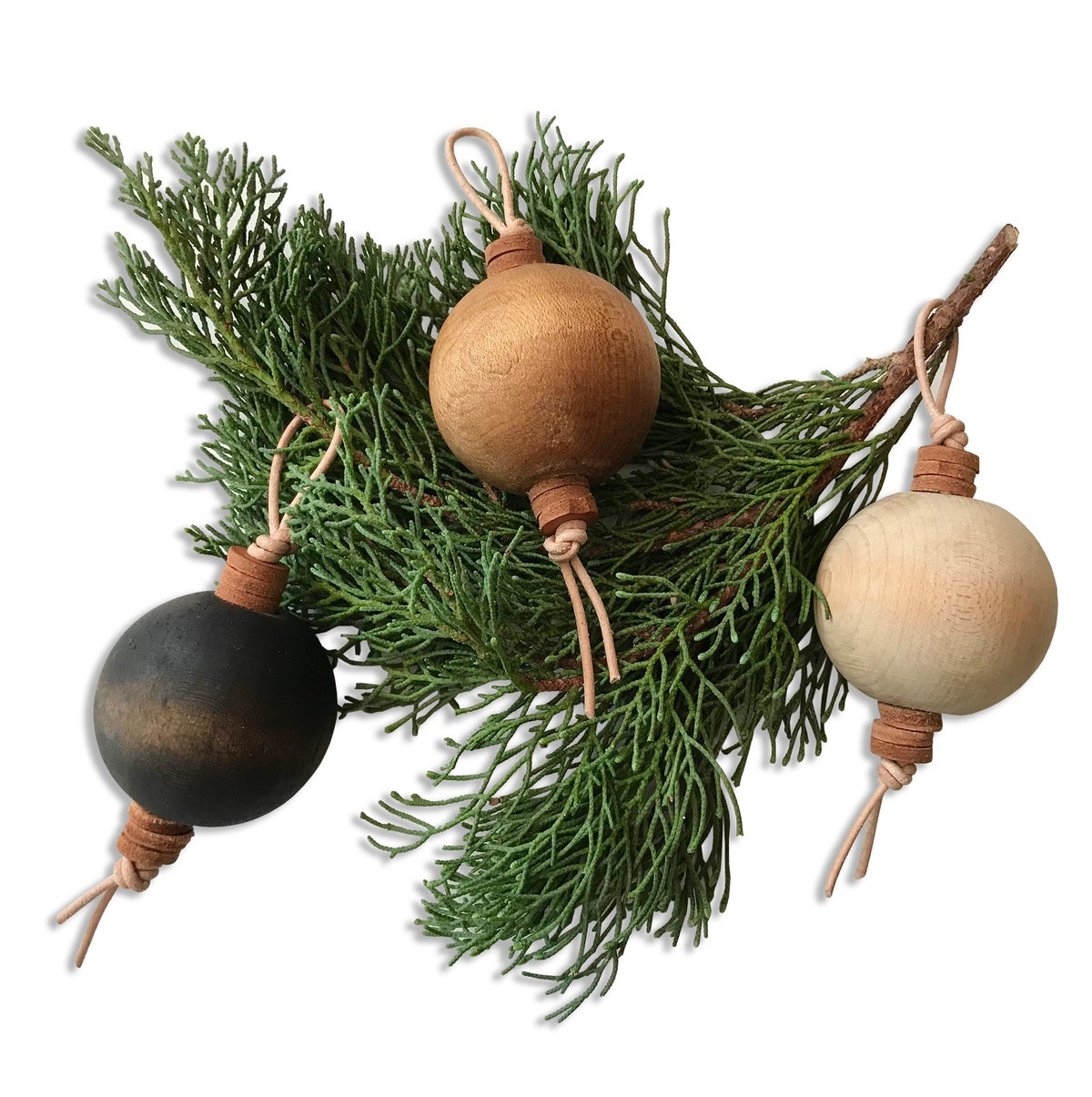 Image of VINTAGE WOODEN BALL ORNAMENTS - SET of 3