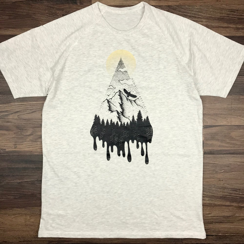 "Image of ""Echo Mountain"" Men's Premium Raglan Tee"