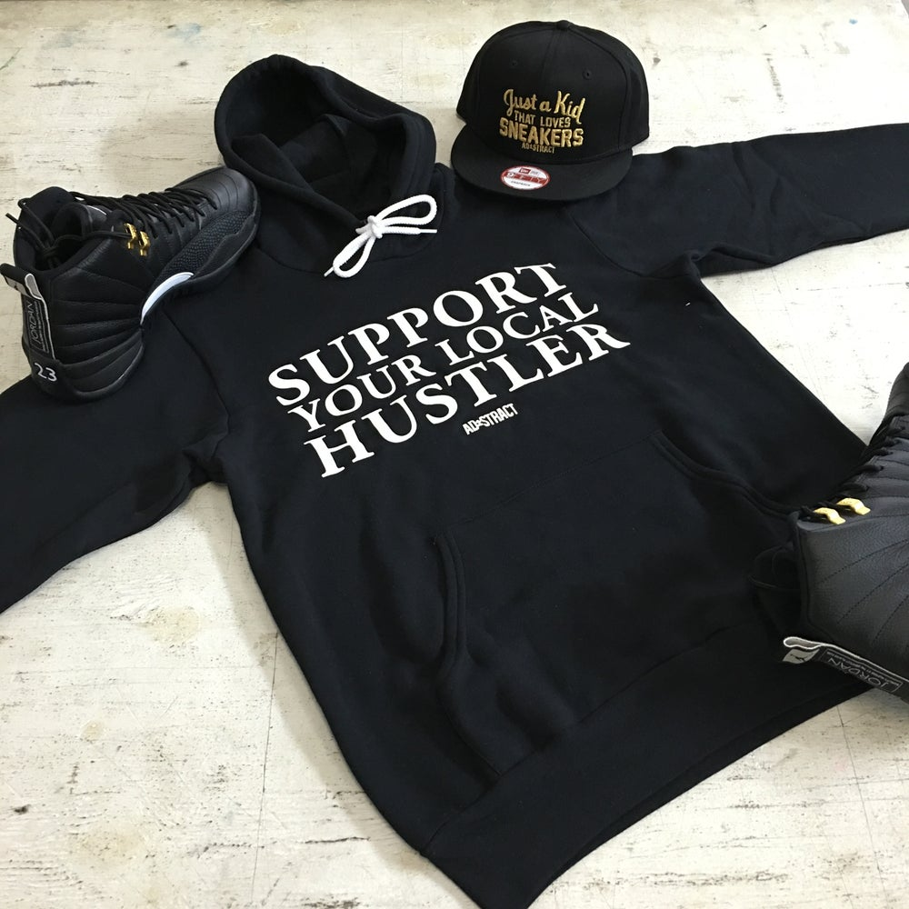 "SUPPORT YOUR LOCAL HUSTLER ""WHITE PRINT"" TSHIRT OR HOODY"