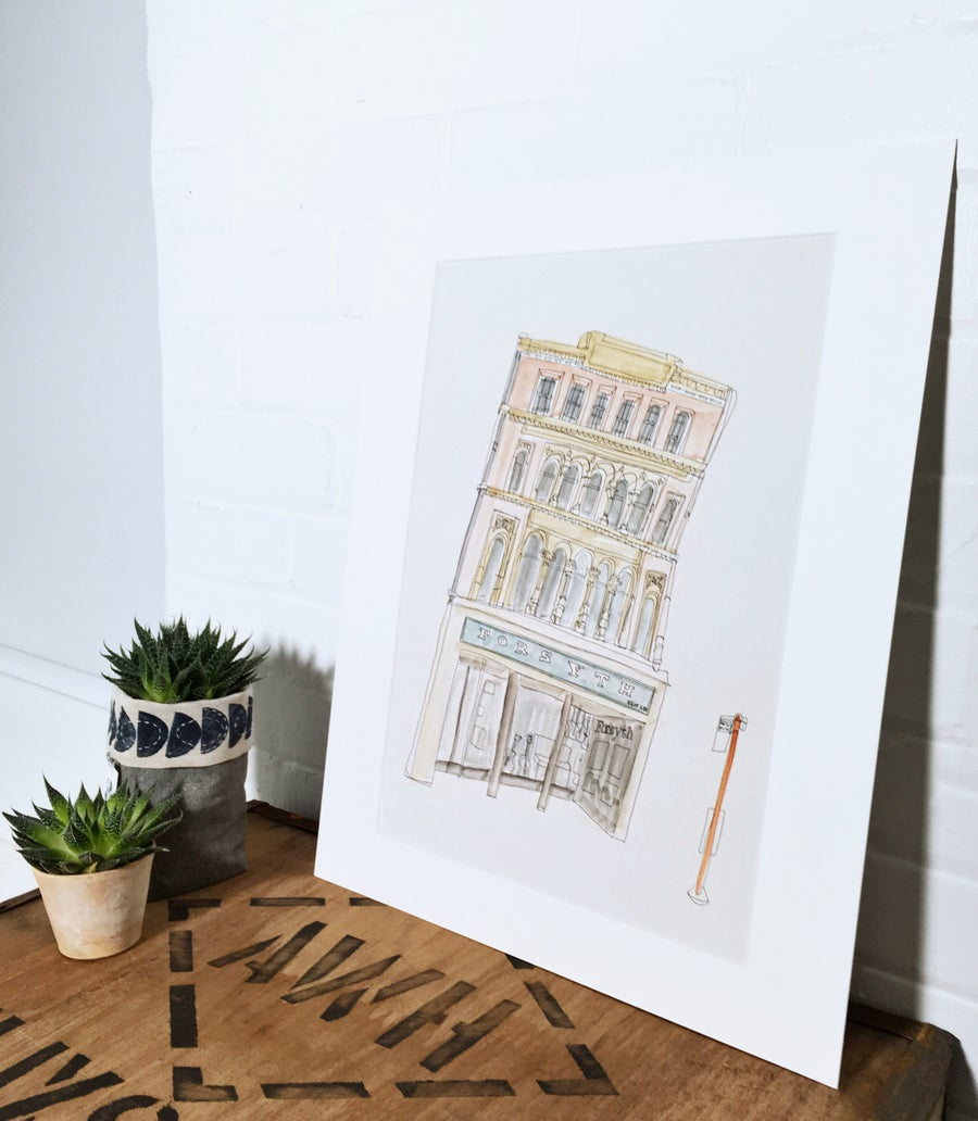 Image of Forsyth's music shop- A3 individually hand painted limited edition print.