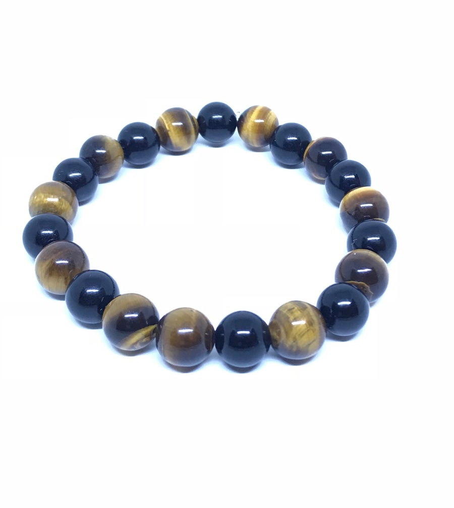 Image of Mens tigereyes 10mm bracelet with onyx