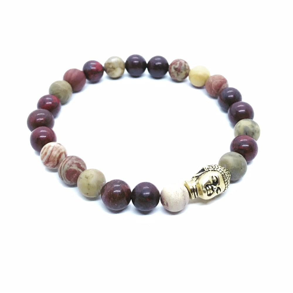 Image of Mixed jasper stretch bracelet with buddha