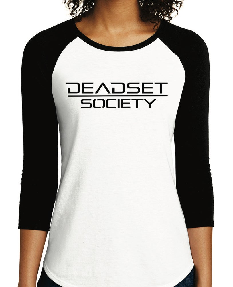 Image of <b>DEADSET SOCIETY </b><br>3/4 Sleeve Shirt (Women's)  White w/ Black Logo<br>