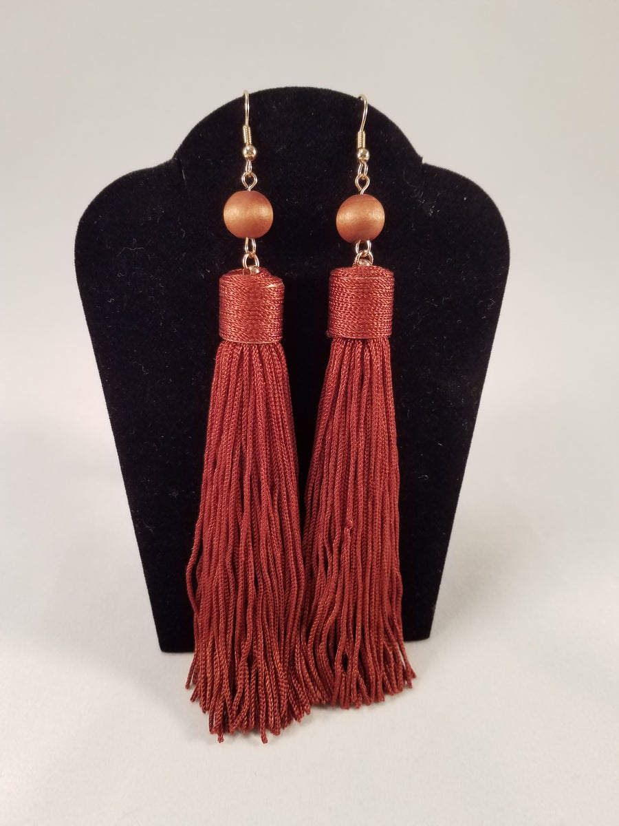 Image of Burgundy Beaded Tassel Earrings